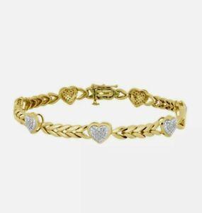 "0.30Ct Round Diamond 14K Yellow Gold Finish Heart Tennis Bracelet 7"" Inch V-Day"