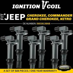 6x  Ignition Coils for Jeep Cherokee KJ Grand Cherokee WH WK Commander XK 3.7L