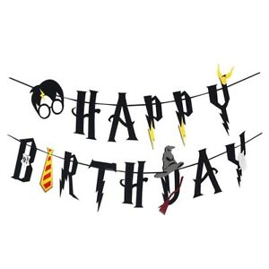 Harry Potter Happy Birthday Banner Bunting Garland Flag Hanging Party Decoration