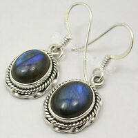 "Oval Cabochon Labradorite Drop Dangle Earrings 1.3"" 925 Pure Silver New Gemstone"