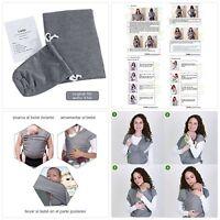 Lictin Fular Portabebés Elástico Gris Portador de Bebé Pañuelo de algodón U