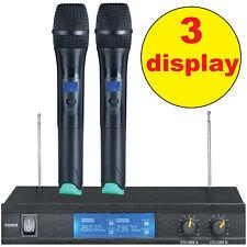 """COPPIA RADIO MICROFONI WIRELESS senza fili  VHF """"PRO"""" CON 3 DISPLAY BI-CANALE"""