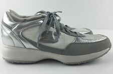 Skechers Women US 9.5 Silver Wedge Fit Shoes Fashion Sneakers Lace Up 48746