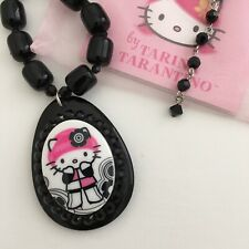Vintage Tarina Tarantino Hello Kitty Pinkhead Collection Black Bead Necklace