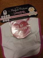 Baby Girl White Pink Bib With 11 Holiday Stickers Birthday Easter Christmas...