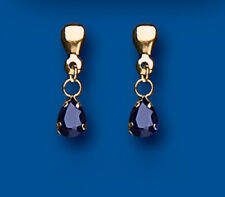 Sapphire Earrings Yellow Gold Drop Pear Solitaire Drops