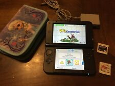 Nintendo 3DS XL Blue/Black System W/ Charger, Case & 3 Games! Tested! Ships Fast