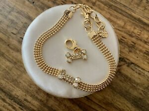 Puppy Pet Cat Dog Jewelry Gold Rhinestone Bone Necklace Collar Diamante new