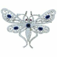 2CT Round Cut Blue Sapphire Ruby 14K White Gold Over Exclusive Butterfly Brooch