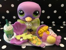 LITTLEST PET SHOP AUTHENTIC # 2411 BLYTHE SUPER RARE PURPLE SWAN W/ACCESSORIES