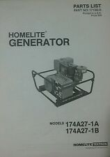 Homelite 174A27-1A Generator Parts Manual 4pg Survival Camping Preppers Off-Grid