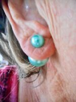 Authentic Vintage 1950's Cool Reversible Teal Faux Pearl Pierced Earrings