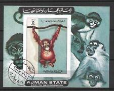 Animaux Singes Ajman (71) bloc oblitéré