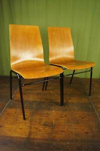 60er Vintage Esszimmer Stuhl Industriedesign Stapelstuhl Schichtholz Loft 1/19