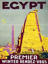 TRAVEL TOURISM EGYPT SUN OBELISK NEEDLE ANCIENT VINTAGE ADVERT POSTER ART 2368PY