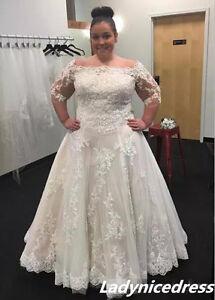 Gorgeous White/Ivory Lace Appliques Wedding Dress Bridal Gown Plus Size 18 20 +