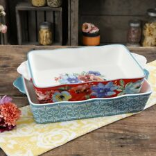 Pioneer Woman Baking Dish 2 Piece Set Ceramic Stoneware Floral Baker Dishes New