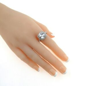 Vintage Pillow Cut Cubic Zirconia Halo Sterling Silver Statement Ring Size 7.75