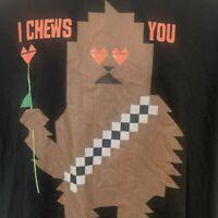 Star Wars Chewbacca I Chews You Mens Black Graphic T-Shirt Size XL