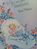 Vtg GLITTER Norcross To You & New GRANDCHILD Baby Bootie CONGRATS GREETING CARD