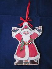 New listing Mary Engelbreit Wood Christmas Ornament Santa Red Ribbon Midwest of Cannon Falls