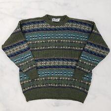 Antartex Shetland Wool Blue Green Fair Isle Sweater, Mens Large (Britain Made)