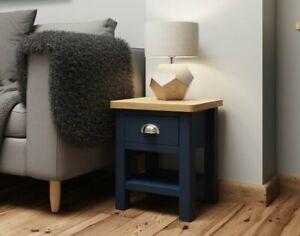 Oak City - Dorset Painted Blue Oak 1 Drawer Lamp Table
