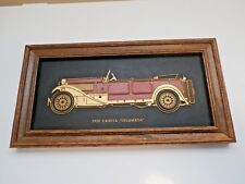 VINTAGE 1930 LANCIA DILAMBDA CAR EMBOSSED PLASTIC PLAQUE WITH WOOD FRAME
