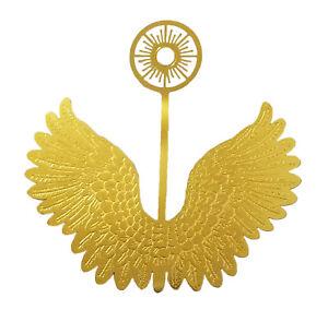 """12 pcs Miniature 3"""" Gold Metal Filigree Angel Wings Halo Ornaments Crafts Dolls"""