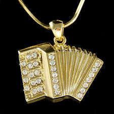 ~Accordion Squeezebox made with Swarovski Crystal Musical Music Necklace Jewelry