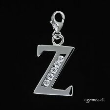 Fine Sterling Silver CZ Initial Letter Z European Clip On Charm #94305