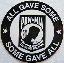 "Helmet Sticker ""POW/MIA - ALL GAVE SOME - SOME GAVE ALL"" Round Sticker, #F1169"