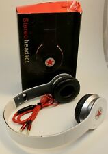 Folding Studio Stereo Headset w/ Mic Super Lite Weight & Great Bass White Star