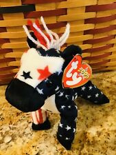 NWT RARE Retired TY Lefty 2000 Beanie Baby With Errors Political Donkey