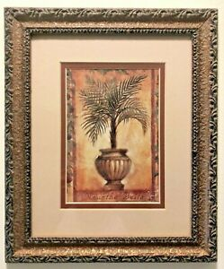 * Vintage Natura Palm Neanthe Bella Print Framed and Matted in Ornate Gold Frame