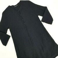Eileen Fisher Sweater Size XS Black Cardigan Wool Blend Snap Button Long Sleeve