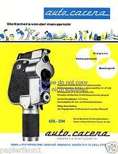 Kamera Auto Carena Genf Schweiz Reklame von 1960 Werbung Filmkamera Super 8  +