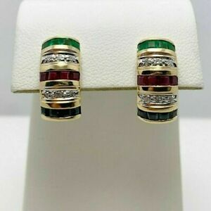 1.35CT Princess Cut Emerald, Ruby, Sapphire Earrings With 14K Yellow Gold Finish