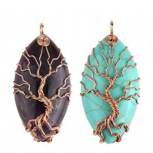 Natural Healing Crystal Stone Wire Wrapped Copper Tree of Life Chakra Pendant