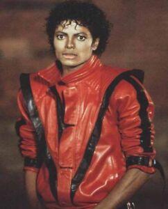 MJ Thriller Michael Jackson Mens Real Leather Biker Jacket