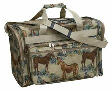 """HORSE DESIGN HEAVY TAPESTRY FABRIC 22"""" DUFFEL BAG HORSE LOVERS DUFFLE LUGGAGE"""