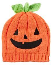 NEW Carter's 0-3 Months Orange Pumpkin Face Halloween Baby HAT NWT