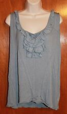 Ladies' XL SLEEVELESS KNIT TANK TOP (blue/gray w/ ruffle; 100% rayon) EUC