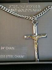 "Men's .925 Sterling Silver & 18k Gold Cross Pendant  Necklace 24"" Gift Boxed"