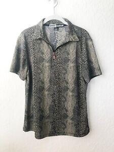Jamie Sadock Womens Golf Shirt 1/4 Zip Collared Black Taupe Snakeskin Print M