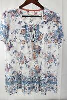 Knox Rose 100% Polyester Sheer Floral Cap Sleeve Top W/Tassel Ties - XL