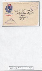 NEW ZEALAND 1940's WW2 CENSORED OAS PATRIOTIC COVER NZEF FPO - SEATON WELLINGTON