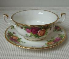 OLD COUNTRY ROSES Royal Albert FOOTED CREAM SOUP BOWL & SAUCER China England