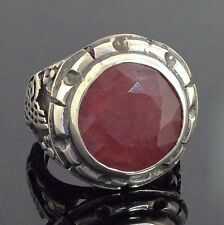 Ruby Ring Unique Sterling Silver Handmade Mens Jewelry natural ruby yaqoot rubin