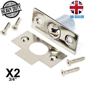 "2x SILVER MORTICE BALES CATCH 3/4"" Door/Cupboard/Cabinet Roller Ball Latch Lock"